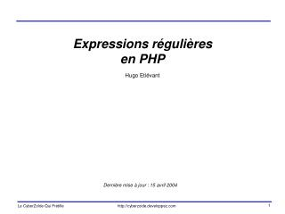 Expressions r guli res en PHP