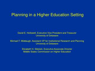 Planning in a Higher Education Setting