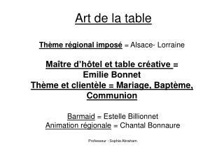 Art de la table   Th me r gional impos   Alsace- Lorraine