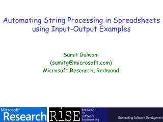 Automating String Processing in Spreadsheets   using Input-Output Examples