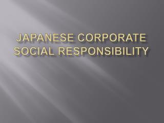 Japanese Corporate Social Responsibility