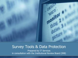 Survey Tools  Data Protection