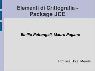 Elementi di Crittografia - Package JCE