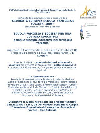 QUADRO PROGETTI  2009-10                                                       AGE   ASCOVOVA