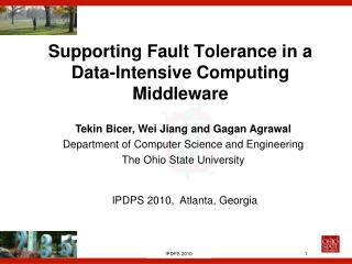 Supporting Fault Tolerance in a Data-Intensive Computing Middleware