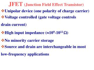 JFET Junction Field Effect Transistor