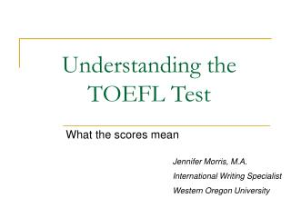 Understanding the TOEFL Test