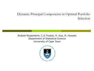 Dynamic Principal Components in Optimal Portfolio Selection