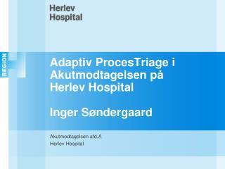 Adaptiv ProcesTriage i Akutmodtagelsen p  Herlev Hospital  Inger S ndergaard