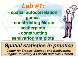 Lab 1: - spatial autocorrelation games - constructing Moran scatterplots - constructing semivariogram plots