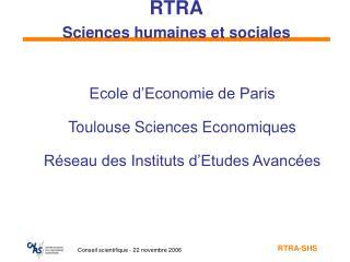 RTRA Sciences humaines et sociales