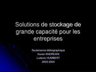 Solutions de stockage de grande capacit  pour les entreprises