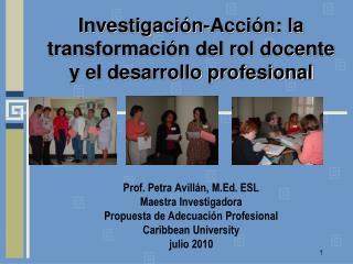 Investigaci n-Acci n: la  transformaci n del rol docente y el desarrollo profesional