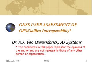 GNSS USER ASSESSMENT OF GPS