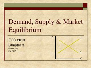 Demand, Supply  Market Equilibrium