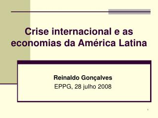 Crise internacional e as economias da Am rica Latina