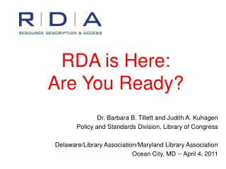 RDA is Here: Are You Ready