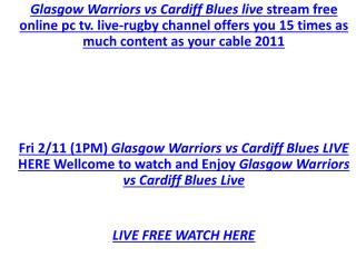 @@@@@@@@@WATCH LIVE Glasgow Warriors vs Cardiff Blues LIVE S