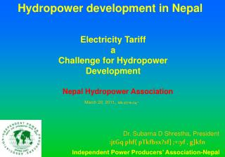 Hydropower development in Nepal
