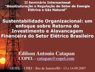 II Semin rio Internacional  Reestrutura  o e Regula  o do Setor de Energia El trica e G s Natural