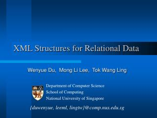 XML Structures for Relational Data