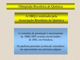 Olimp ada Brasileira de Qu mica