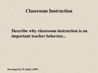 Classroom Instruction