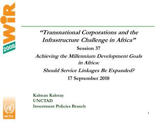 Transnational Corporations and the Infrastructure Challenge in Africa  Session 37 Achieving the Millennium Development
