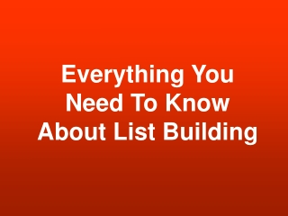 List Building Bulletin