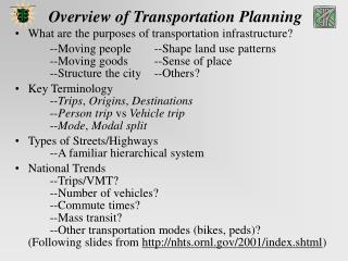Overview of Transportation Planning