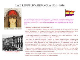 LA II REP BLICA ESPA OLA 1931 - 1936