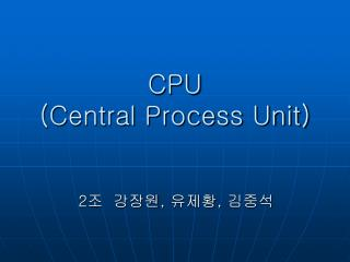 CPU Central Process Unit