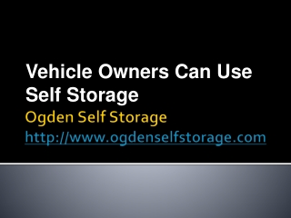 Vehicle Owners Can Use Self Storage