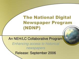 The National Digital Newspaper Program NDNP