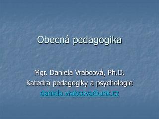 Obecn  pedagogika