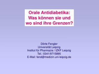Orale Antidiabetika: Was k nnen sie und wo sind ihre Grenzen