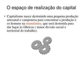 O espa o de realiza  o do capital