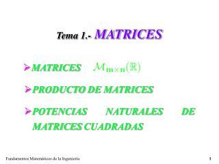 Tema 1.- MATRICES