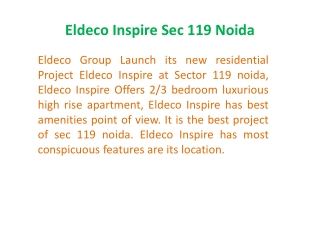 9873111181 !!Eldeco Inspire | Eldeco Inspire New Project