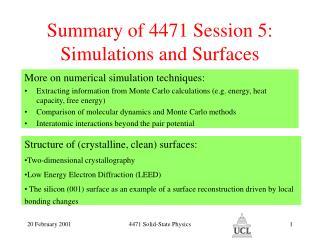 Summary of 4471 Session 5:
