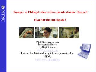 Trenger vi IT-faget i den videreg ende skolen i Norge   Hva b r det inneholde