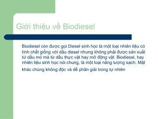 Gii thiu v Biodiesel