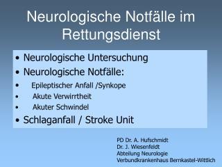 Neurologische Notf lle im Rettungsdienst
