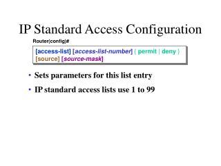 IP Standard Access Configuration