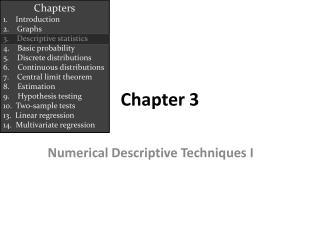 Numerical Descriptive Techniques I