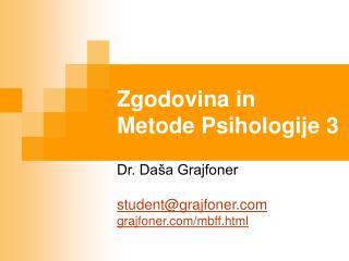 Zgodovina in Metode Psihologije 3