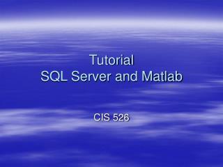 Tutorial  SQL Server and Matlab