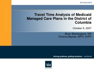 Travel Time Analysis of Medicaid Managed Care Plans in the District of Columbia