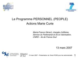 Le Programme PERSONNEL PEOPLE Actions Marie Curie