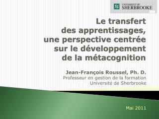 Le transfert  des apprentissages,  une perspective centr e sur le d veloppement  de la m tacognition